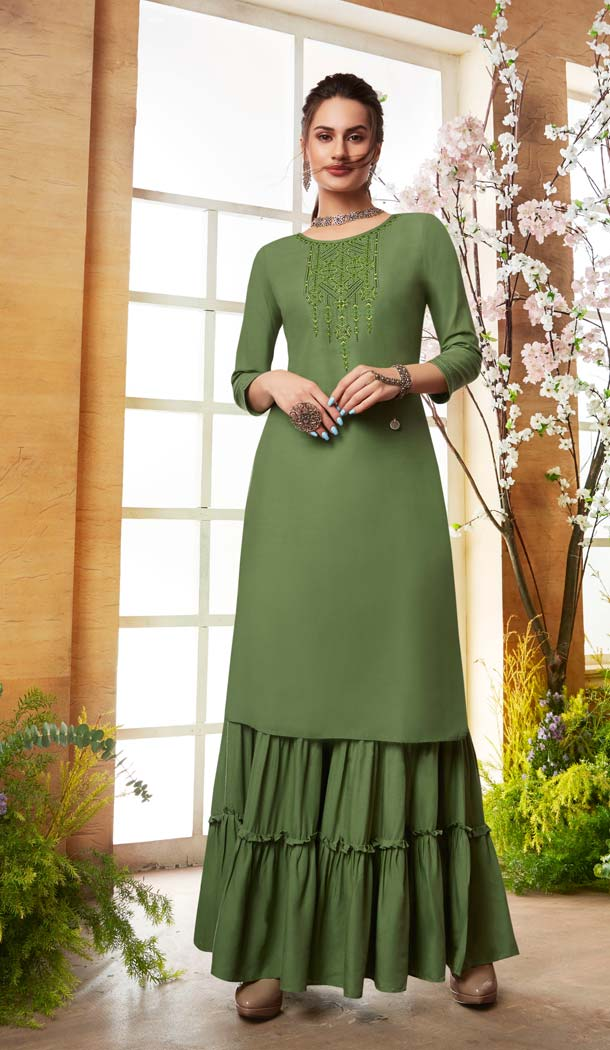 Mehendi Green Color Rayon Casual Pakistani Sharara Suit -589873168