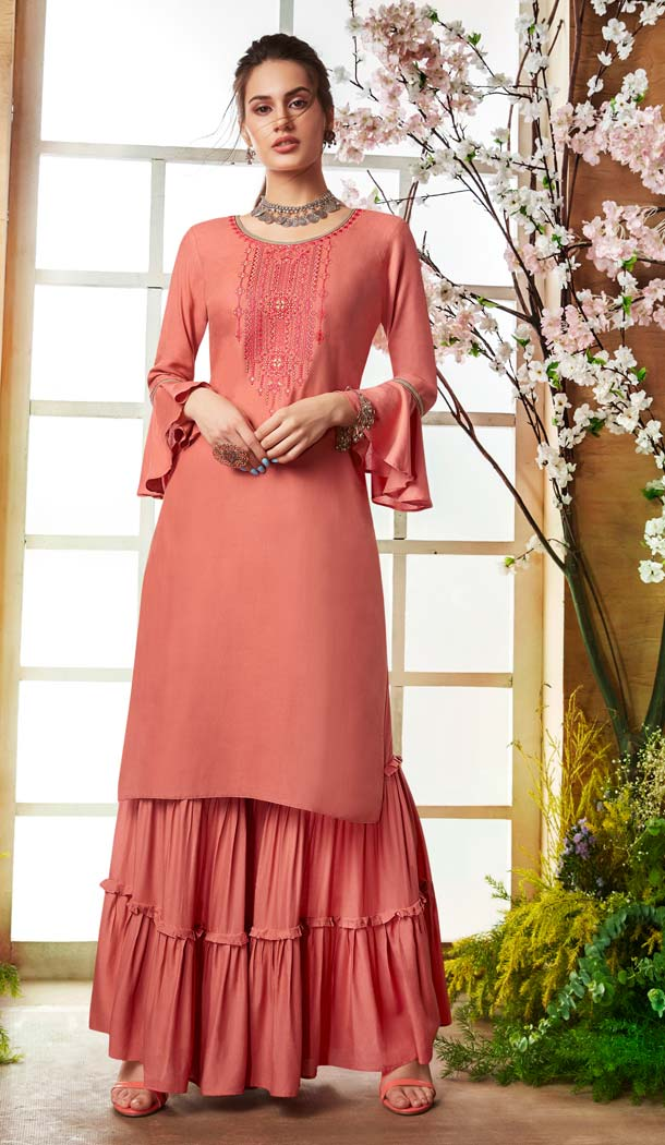 Peach Color Rayon Casual Pakistani Sharara Suit -589873170