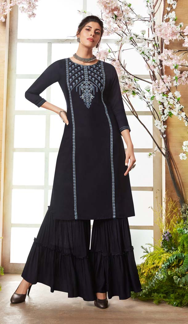 Black Color Rayon Casual Pakistani Sharara Suit -589873171