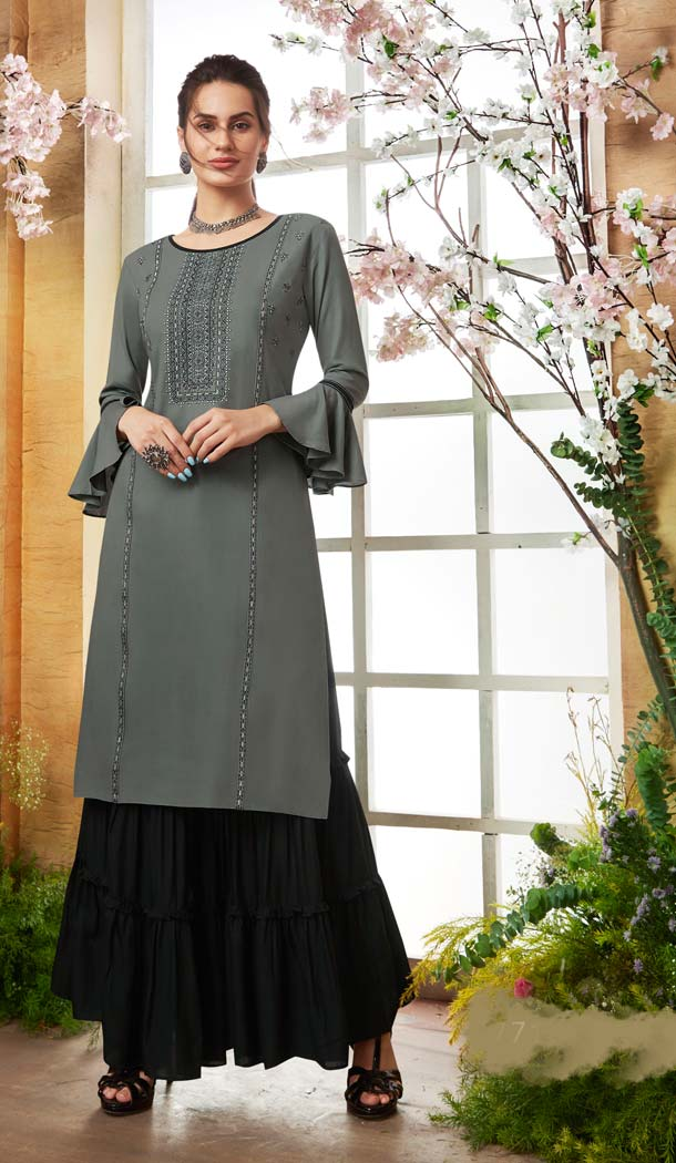 Grey Color Rayon Casual Pakistani Sharara Suit -589873174