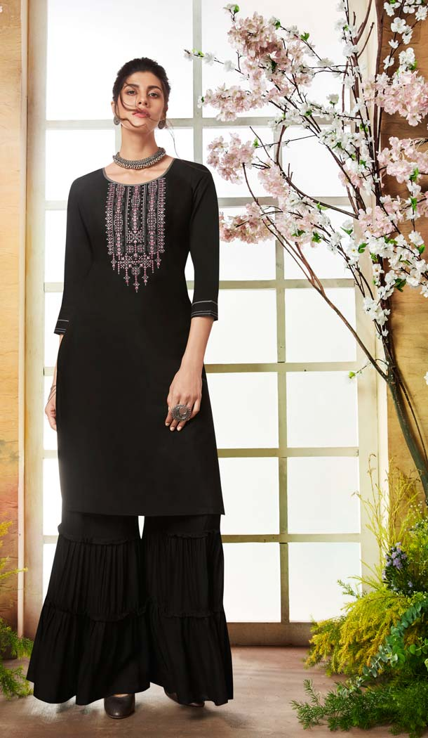 Rayon Black Color Casual Pakistani Sharara Suit -589873175