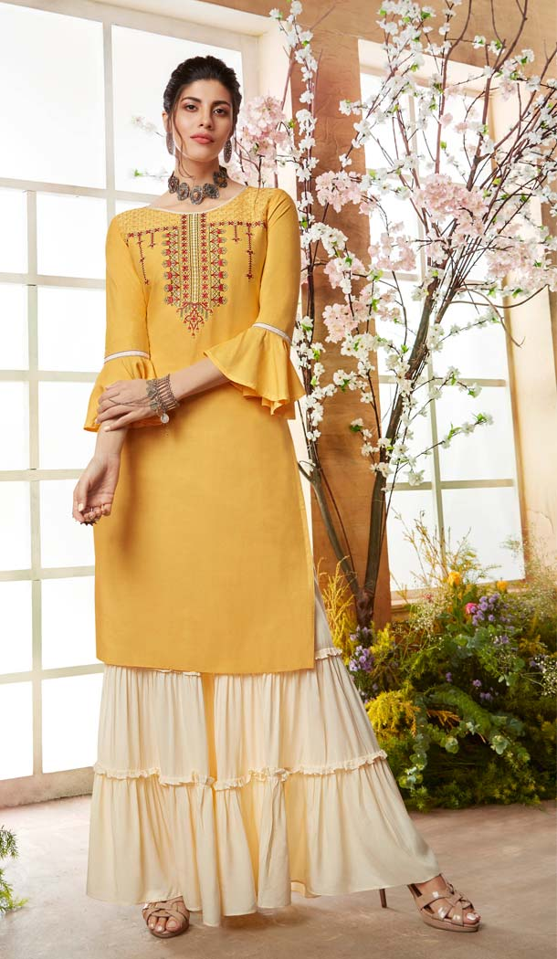 Rayon Yellow Color Casual Pakistani Sharara Suit -589873176