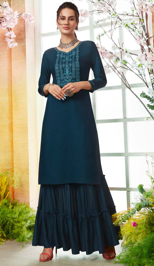 Rayon Sea Blue Color Casual Pakistani Sharara Suit -589873177