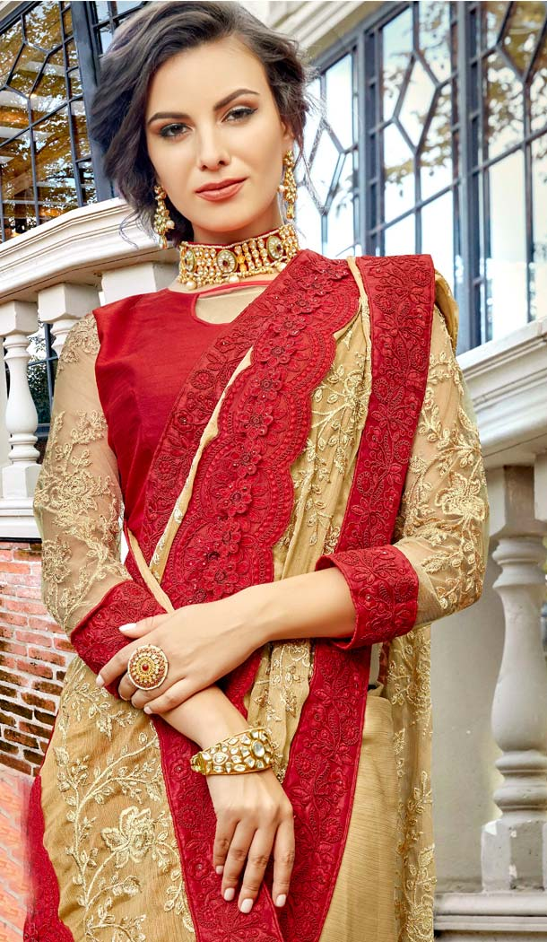 Beige Color Art Silk Heavy Embroidred Sarees Blouse -586372833