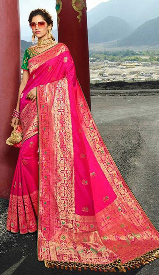 Contemporary Rani Pink Color Silk Embroidery Designer Sarees -426762278