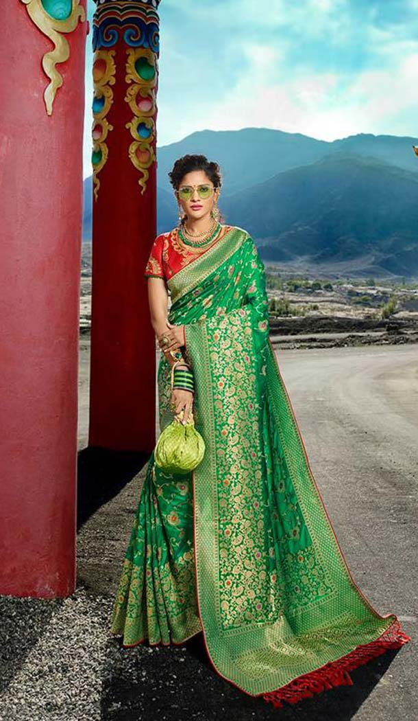 Chic Green Color Silk Embroidery Designer Sarees -426762280