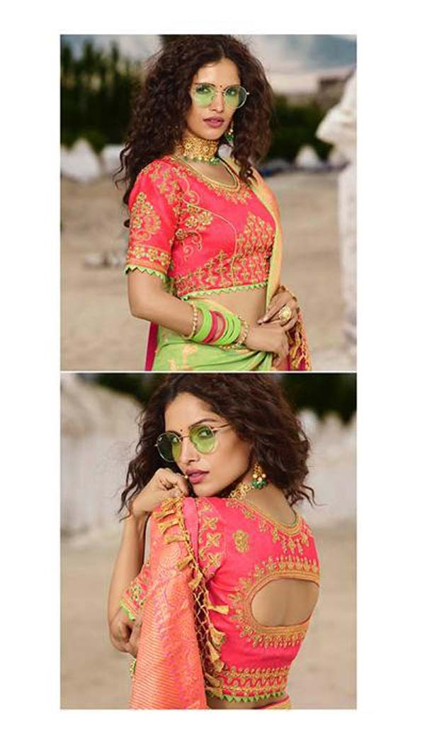 Light Green Color Silk Embroidery Designer Sarees -426762283