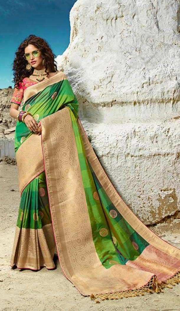 Stylish Green Colour Silk Embroidery Designer Sarees -426762289
