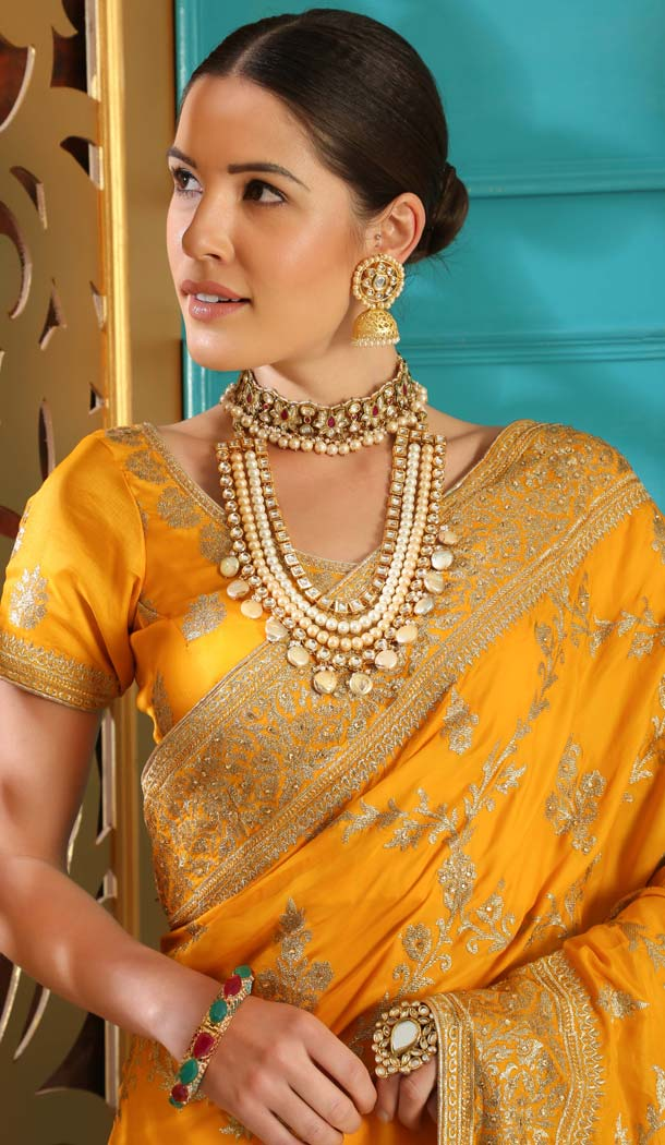 Yellow Color Silk Designer Traditional Wear Saree Blouse -589973178