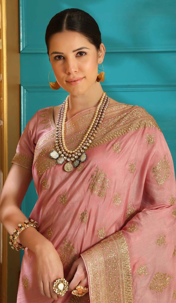 Powder Pink Color Silk Designer Traditional Wear Saree Blouse -589973179