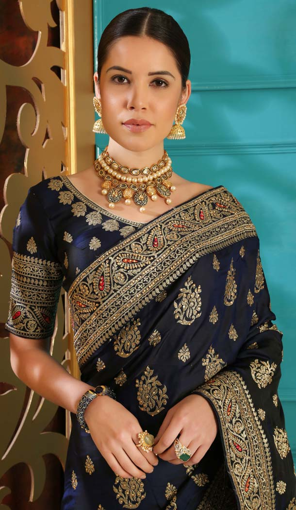 Navy Blue Color Silk Designer Traditional Wear Saree Blouse -589973180