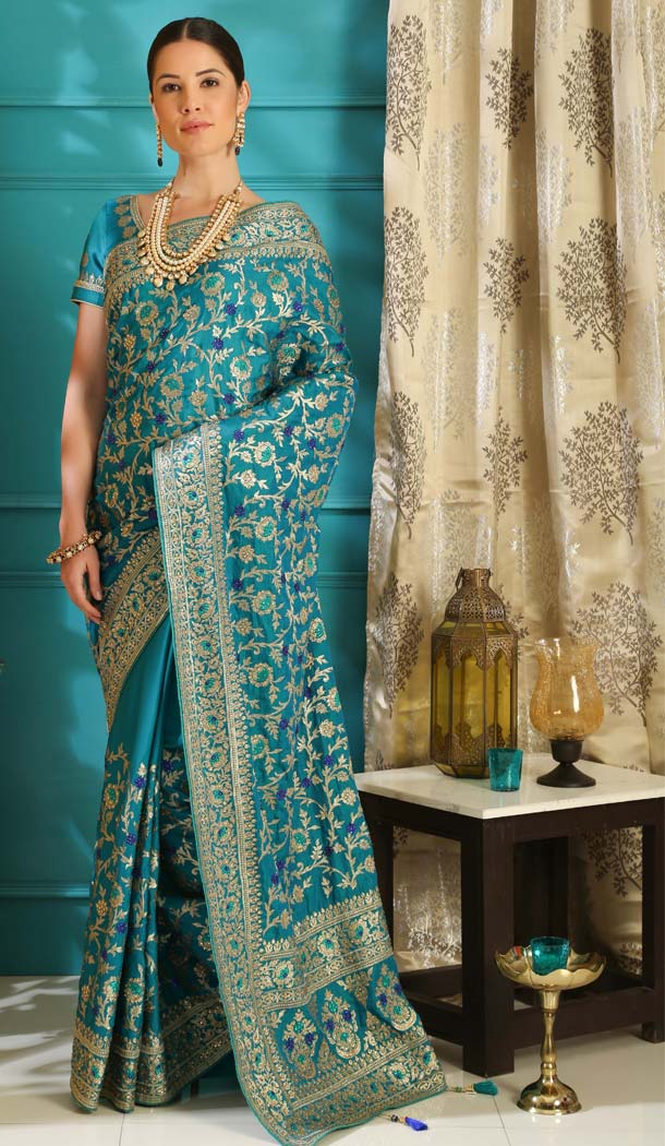 Fancy Teal Blue Color Silk Designer Traditional Saree Blouse -589973181
