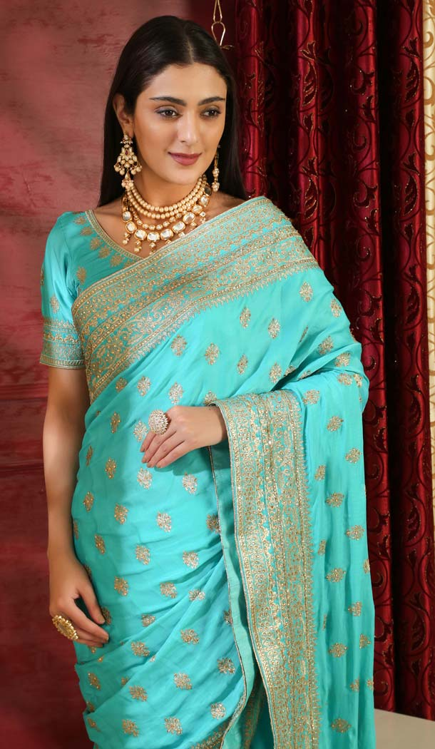 Turquoise Color Silk Designer Traditional Wear Saree Blouse -589973185