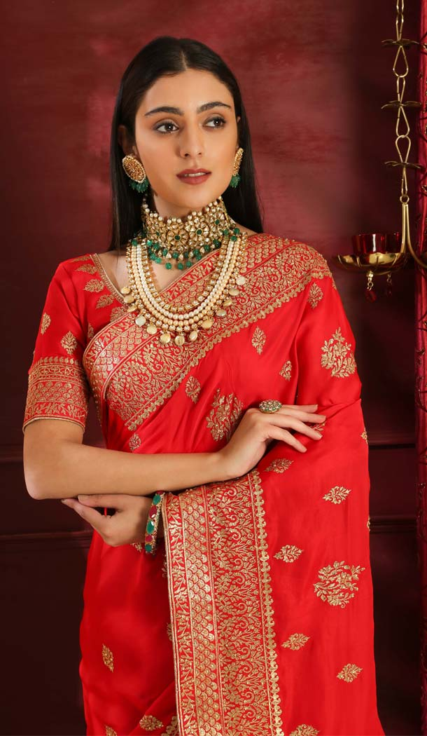 Red Color Silk Designer Traditional Wear Saree Blouse -589973188