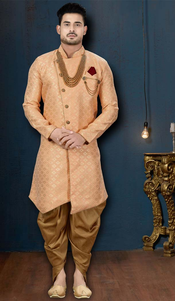 Peach Color Barfi Jacquard IndoWestern Men Sherwani -594173818