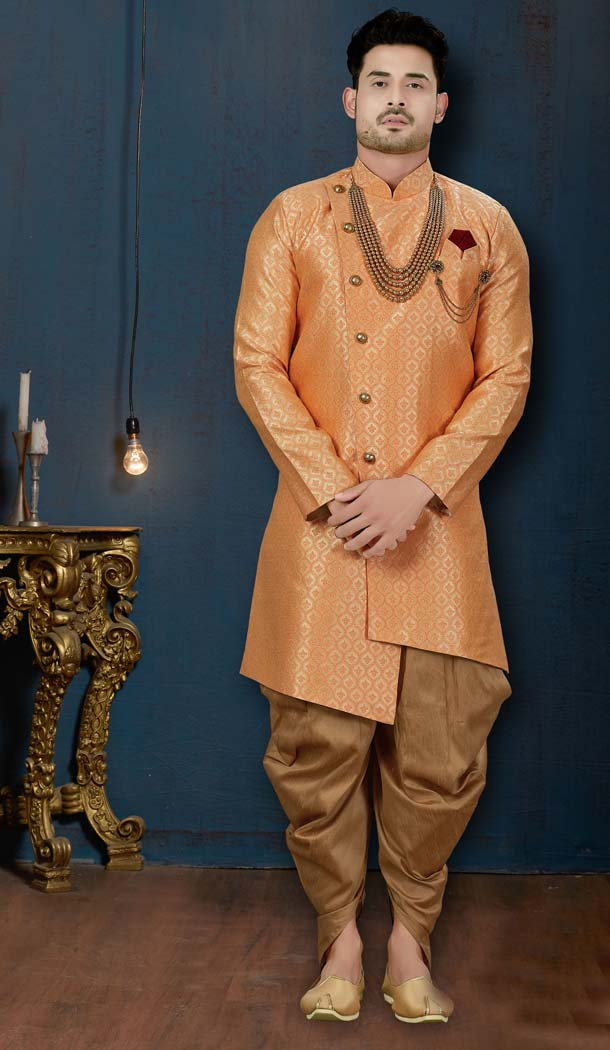 Dark Peach Color Surahi Jacquard IndoWestern Men Sherwani -594173819