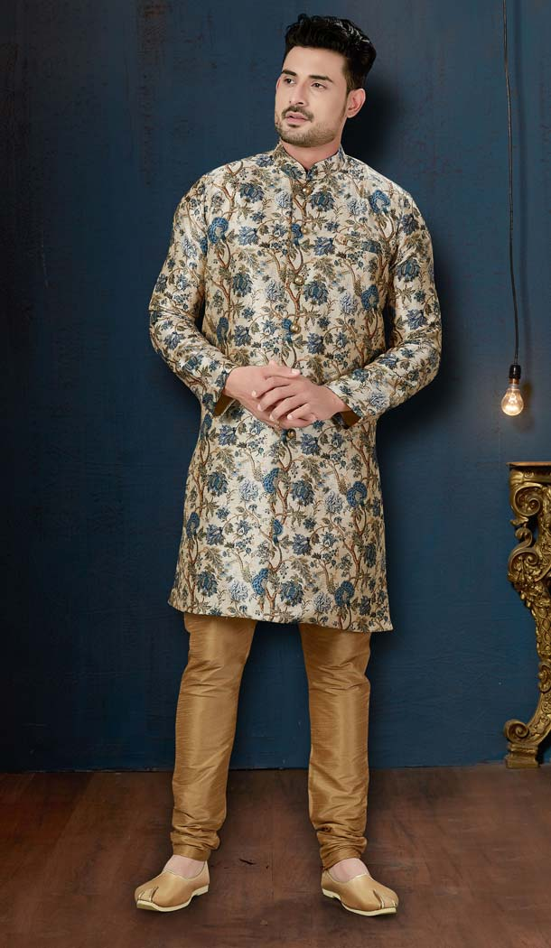 Enigmatic Cream Color Sydany Silk IndoWestern Men Sherwani -594173823