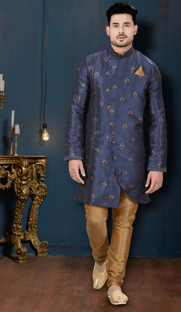 Contemporary Blue Sydany Silk IndoWestern Men Sherwani -594173825