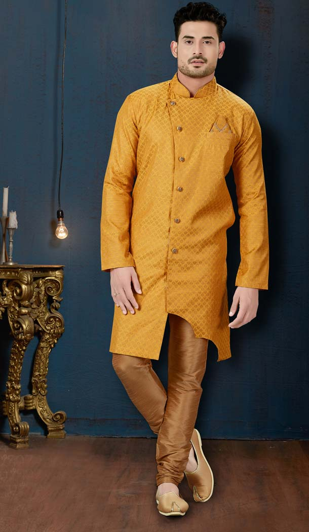 Yellow Slub Jacquard IndoWestern Men Sherwani -594173832