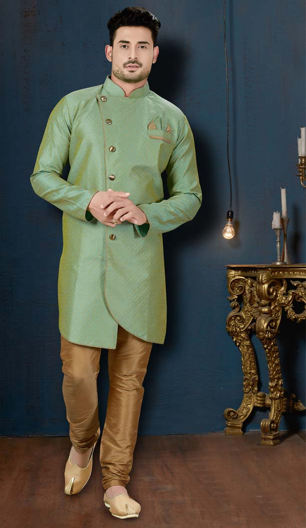 Adorable Rama Green Color Jacquard IndoWestern Men Sherwani -594173835