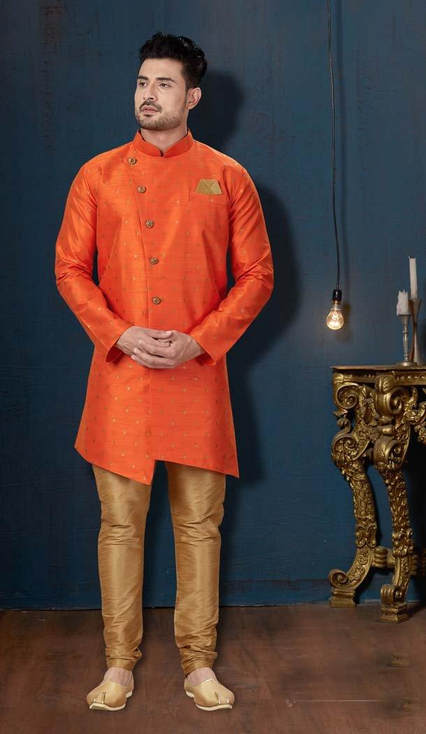 Chic Orange Color Booti Silk IndoWestern Men Sherwani -594173839