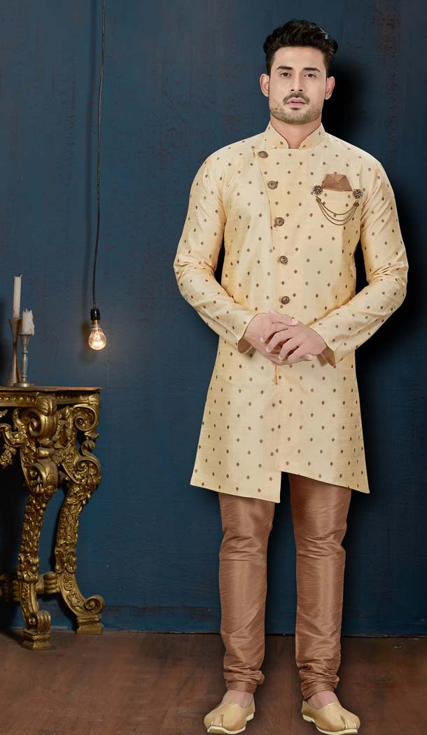 Alluring Cream Color Booti Silk IndoWestern Men Sherwani -594173841