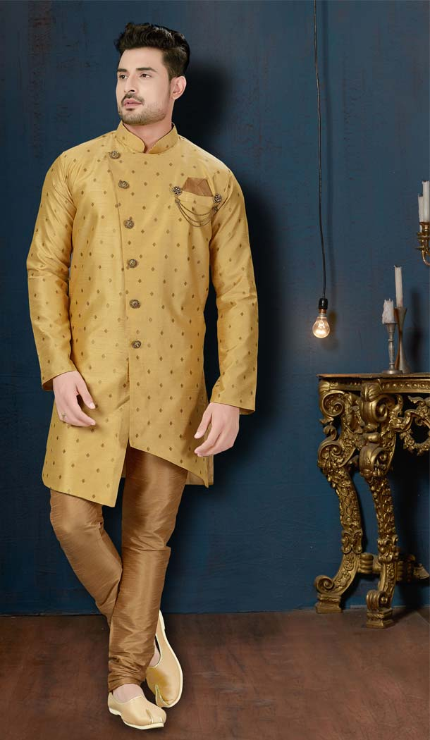 Attractive Gold Color Booti Silk IndoWestern Men Sherwani -594173843