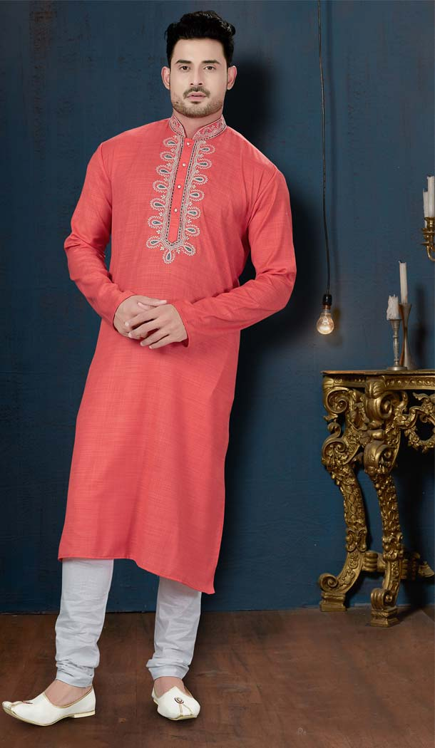 Peach Color Rafael Cotton Plus Size Men Kurta Pajama -594273848