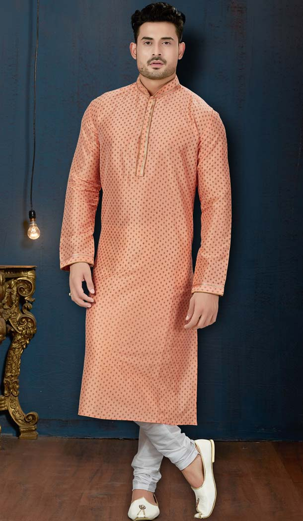 Peach Color Dupion Print Plus Size Men Kurta Pajama -594273853
