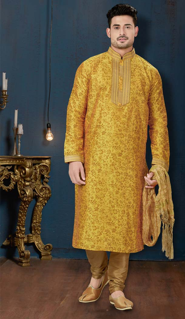 Dark Yellow Color Dupion Print Plus Size Men Kurta Pajama -594273859