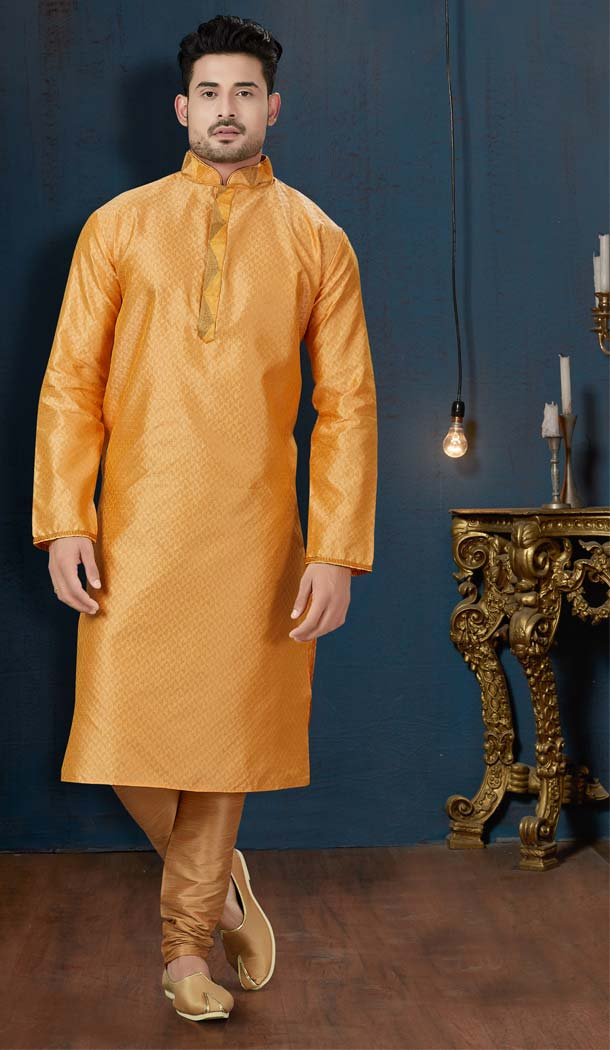 Golden Yellow Color TNT Jacquard Plus Size Men Kurta Pajama -594273860