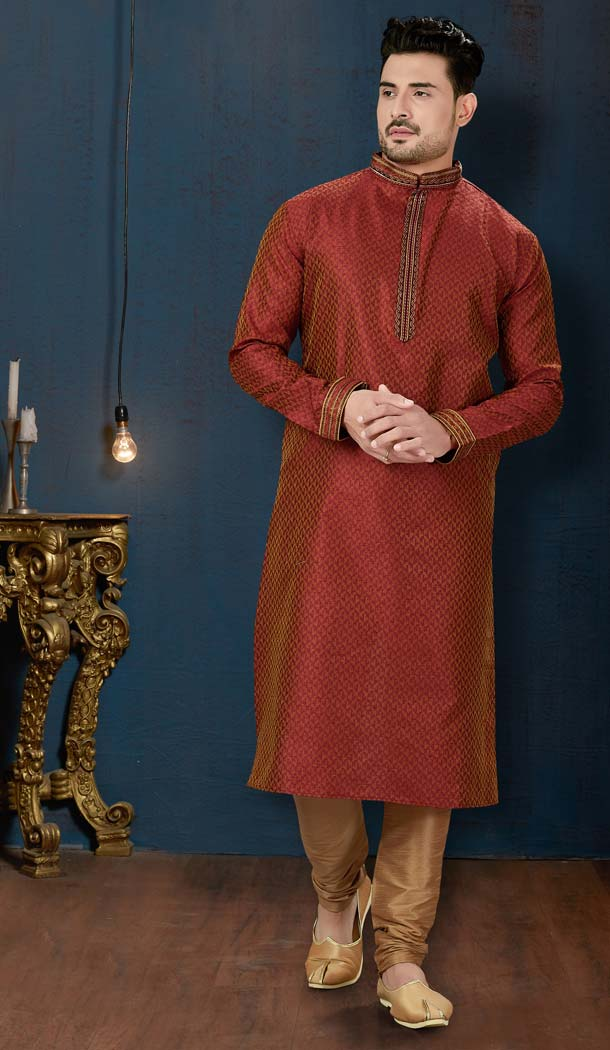 Maroon Color TNT Jacquard Plus Size Men Kurta Pajama -594273865