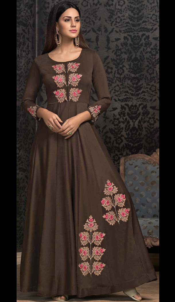 Brown Maslin Embroidery Party Wear Readymade Gown -597374275