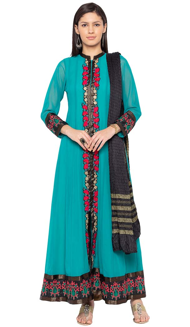 Turquoise Green Georgette Readymade Plus Size Salwar Kameez -601274790