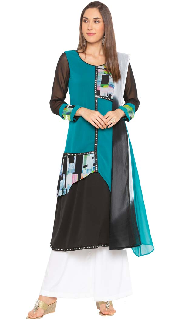 Turquoise Green Georgette Readymade Plus Size Salwar Kameez -601274795