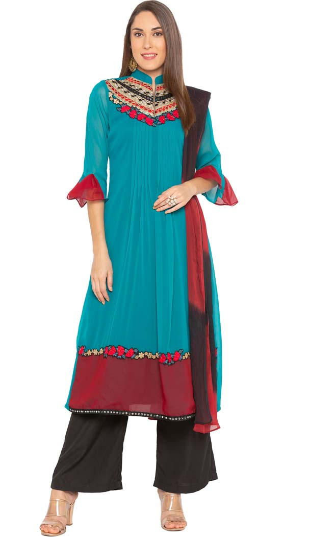 Turquoise Color Georgette Readymade Plus Size Salwar Kameez -601274798