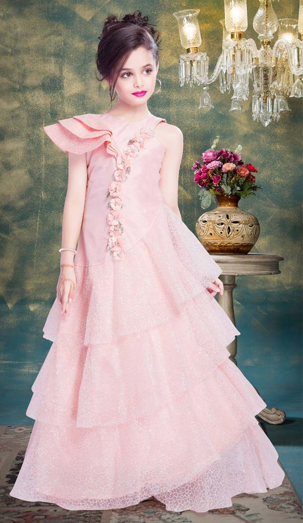 Baby Pink Color Fancy Designer Party Wear Readymade Kids Gown -599274529