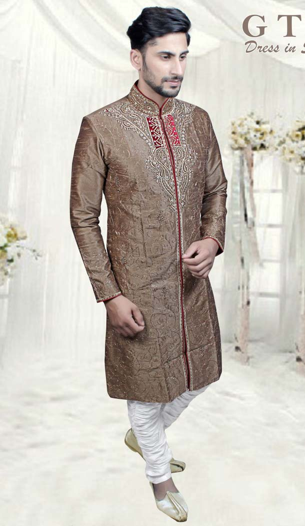 Beige Color Jacquard Readymade Indo Western Mens -601874866