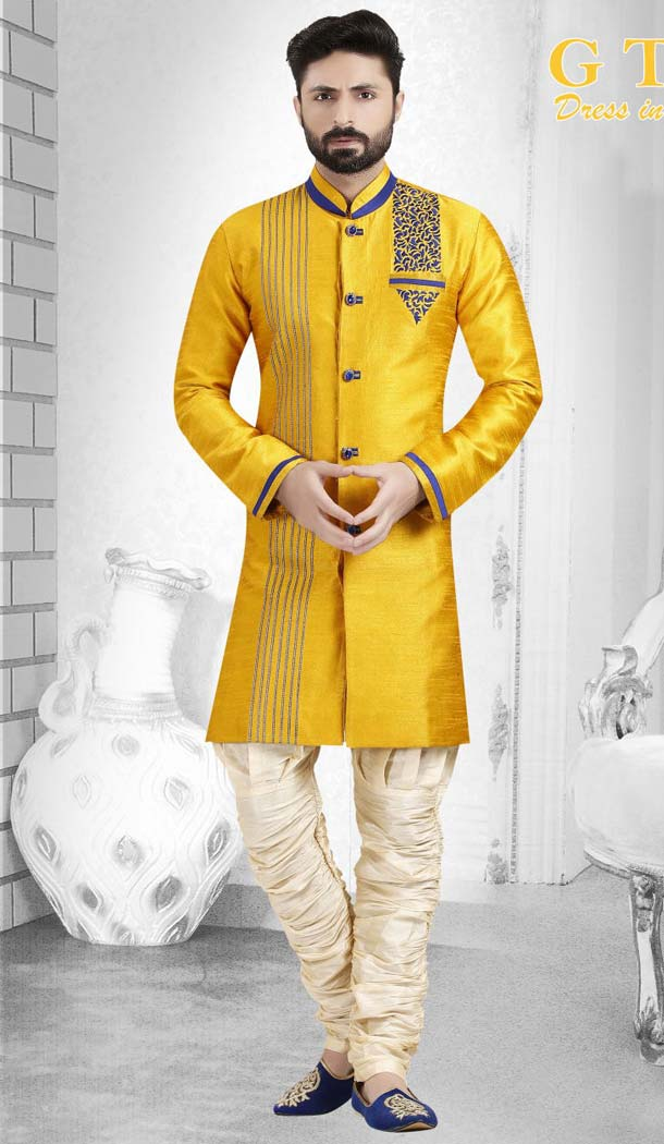 Yellow Color Jacquard Readymade Indo Western Outfits Mens -601874875