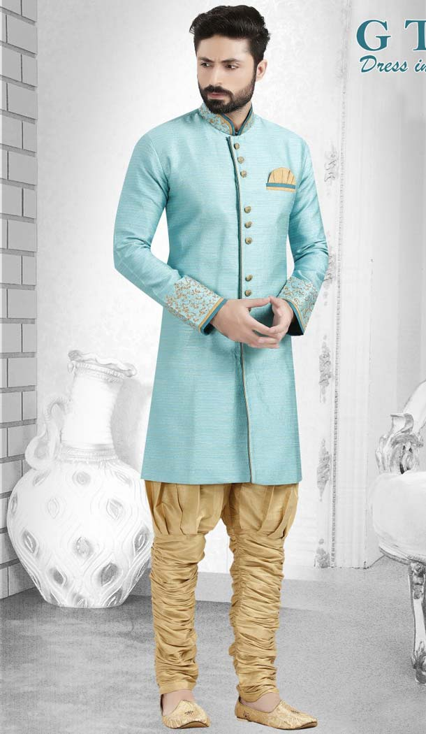Aqua Blue Color Suiting Readymade Indo Western Outfits for Mens -601874883
