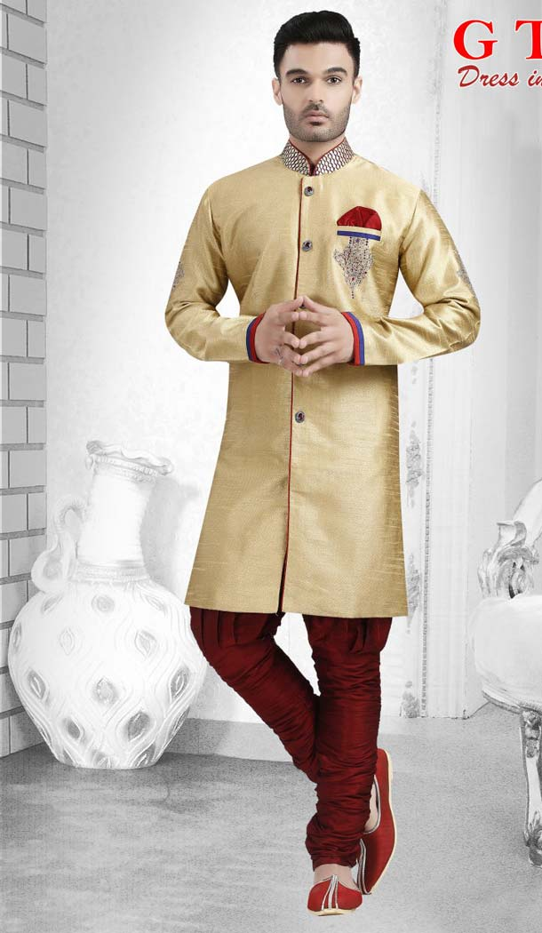 Cream Color Jacquard Readymade Indo Western Outfits for Mens -601874886