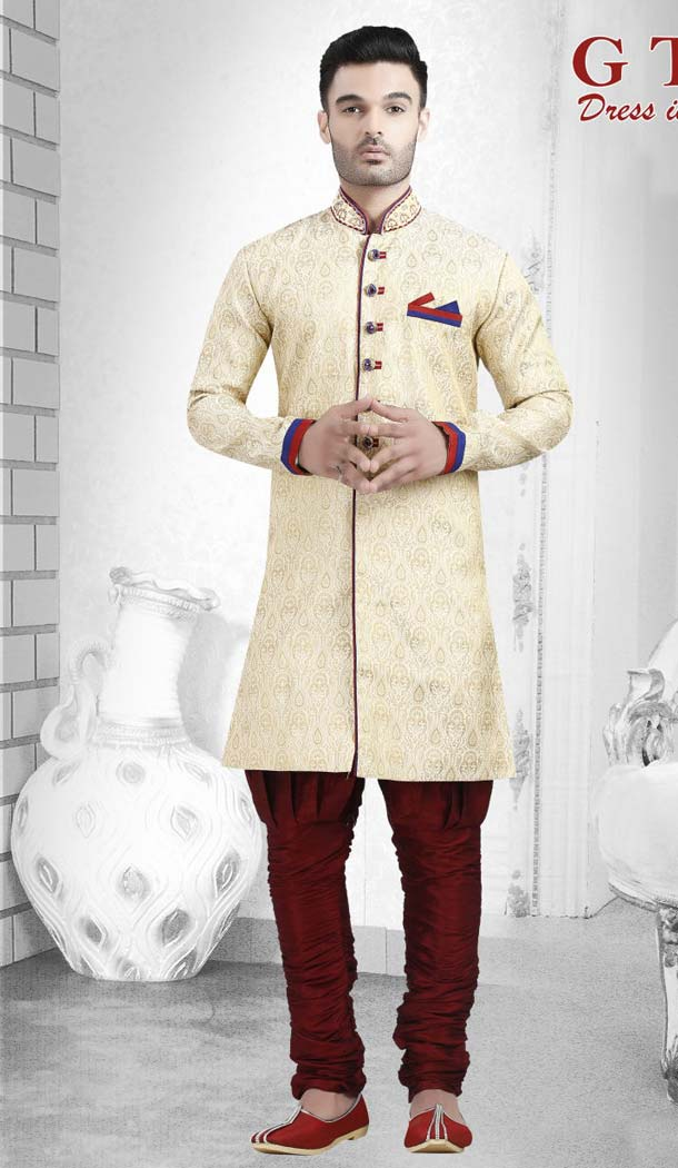 Suiting Cream Color Readymade Indo Western Outfits for Mens -601874888
