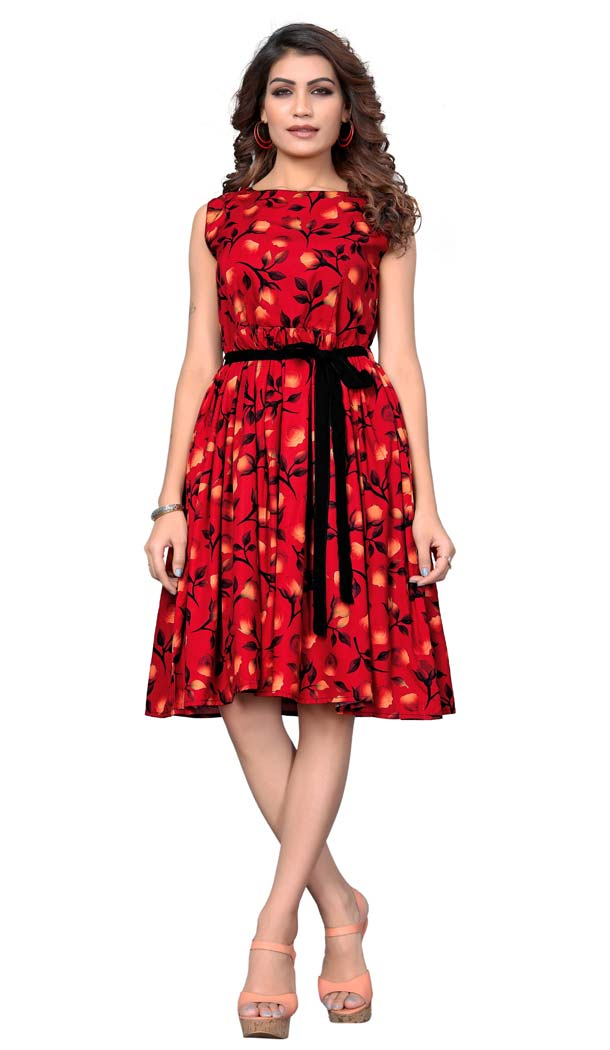 Classy Red Color American Crepe Readymade Party Wear Kurtis -429362507
