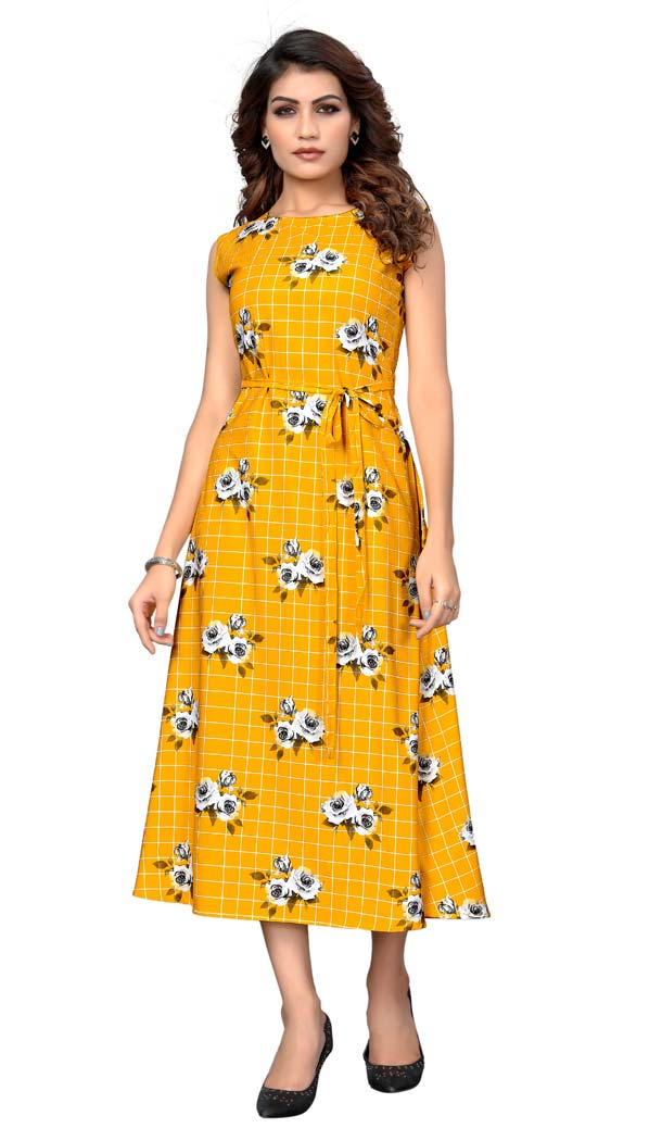 Attractive Yellow American Crepe Readymade Party Wear Kurtis -429362508