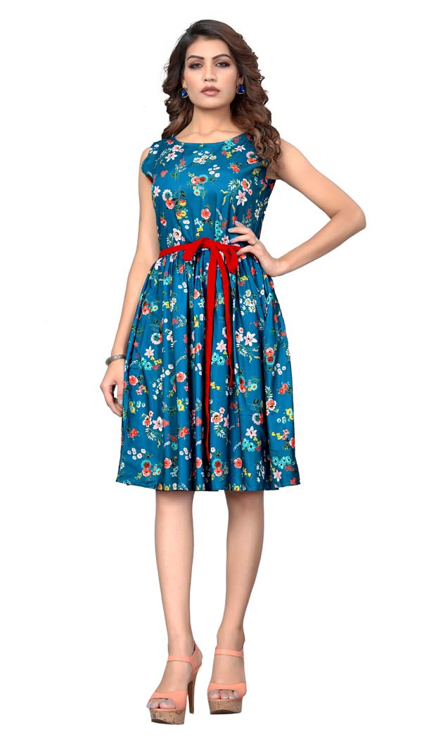 Firozi Blue American Crepe Readymade Party Wear Kurtis -429362509
