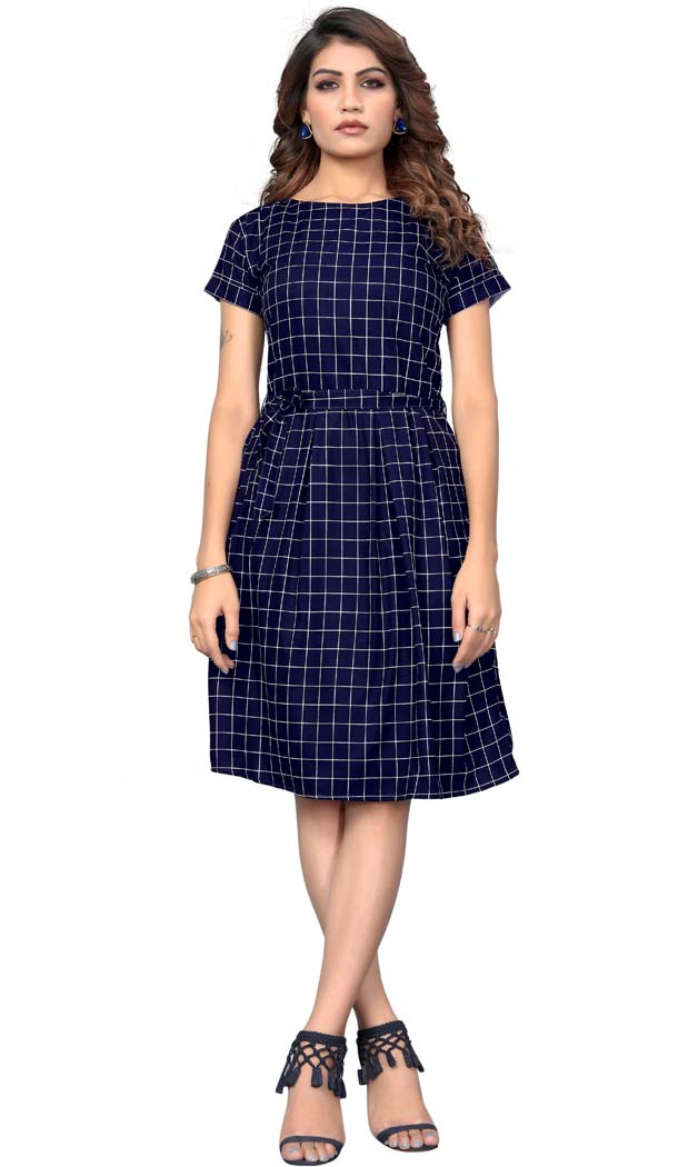 Navy Blue American Crepe Readymade Party Wear Kurtis -429362510