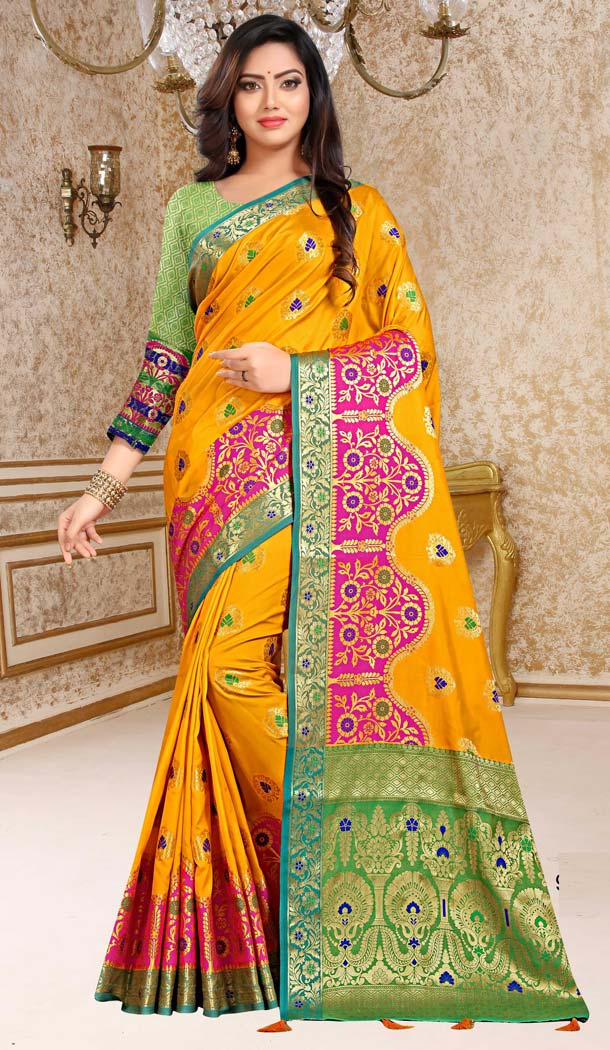 Magnificient Yellow Soft Silk Traditional Festiv Wear Saree Blouse -431062856