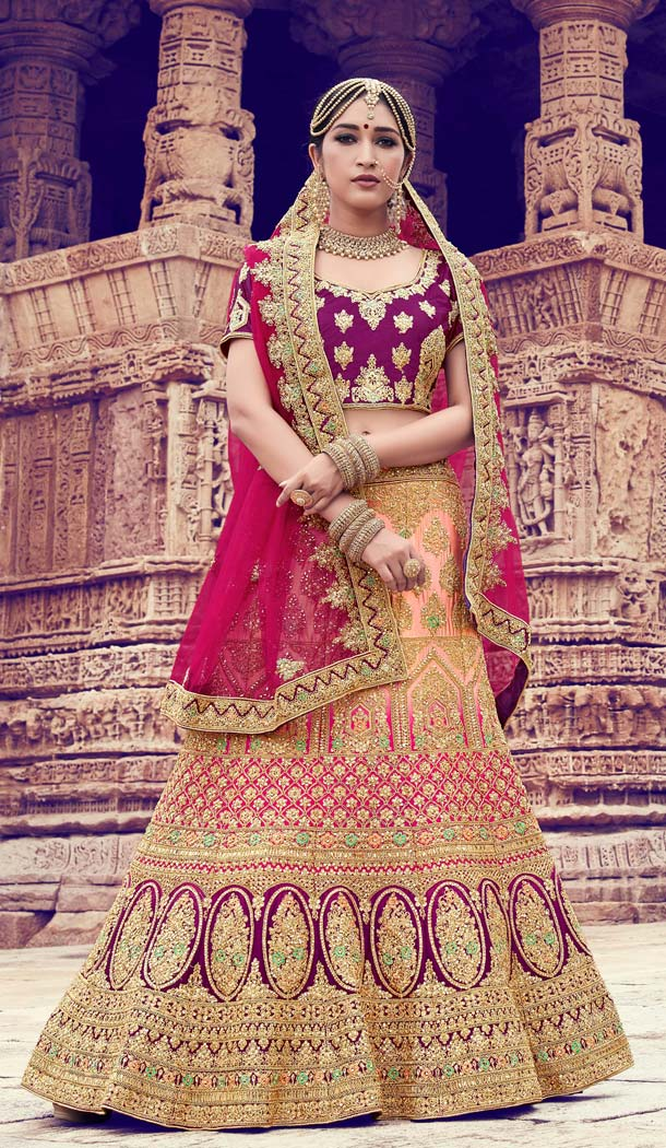 Naylon Peach Color Bridal Wear Designer Lehenga Choli -616777005
