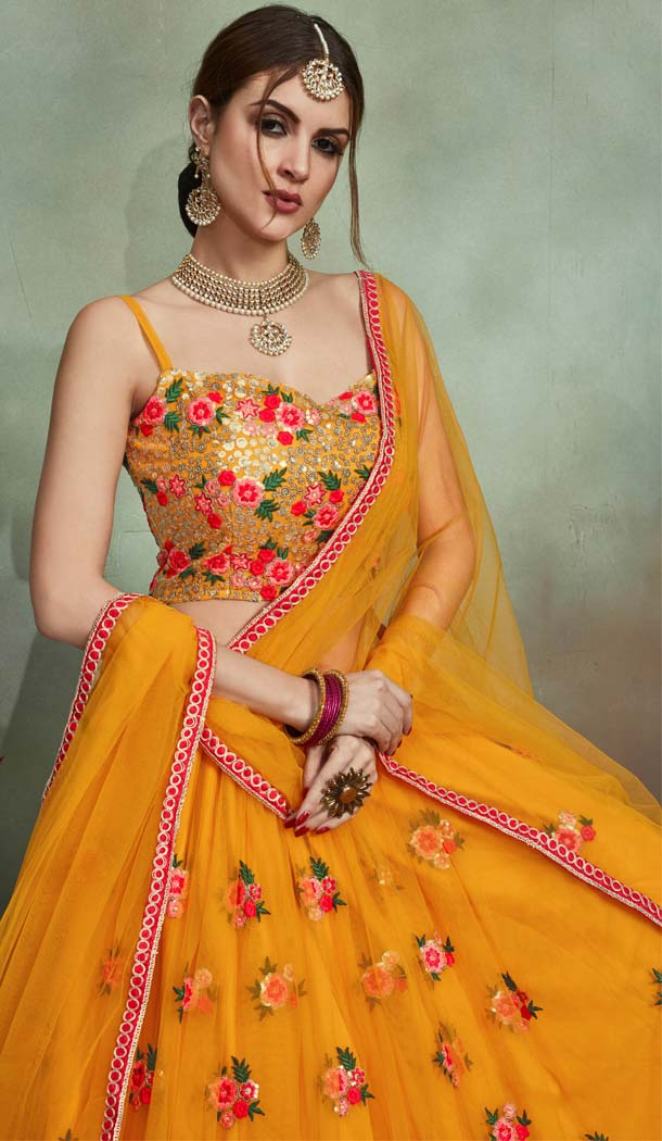 Magnificient Mustard Net Fancy Party Wear Designer Lehenga Choli -617077025
