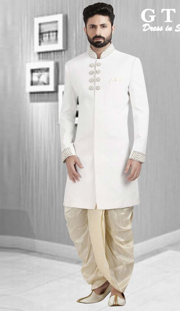 White Color Dupion Plus Size Readymade Classic Man Sherwani -602374995